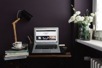 Kaboompics - Contemporary home office idea with dark walls