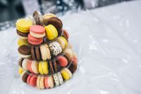 Kaboompics - Colourful sweet macarons arranged in a tower