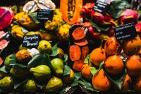 Exotic fruits at the market of Boqueria in Barcelona, Spain