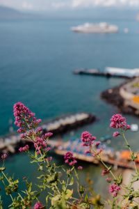 Kaboompics - View of the sea, yacht and umbrella pier in Sorrento, Italy