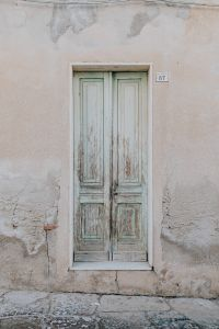 The old, scratched-up door