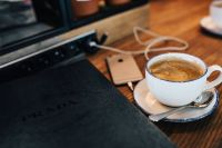 Kaboompics - Book, Cup of Coffee, Wooden Desk