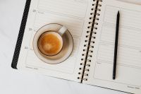 Coffee & Weekly Planner on Marble