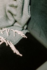 Kaboompics - Pastel green blanket on a velour dark green armchair