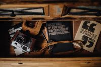 Books in a drawer & Vintage camera