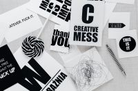 Kaboompics - Top view of black and white typography sentences
