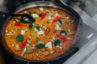Kaboompics - Top view of typical spanish vegetables paella in traditional pan