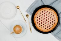 Kaboompics - Fresh baked blueberry pie & cup of coffee