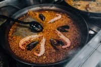 Kaboompics - Top view of typical spanish seafood paella in traditional pan
