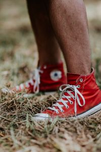 Kaboompics - Man in a red sneaker shoes