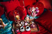 Kaboompics - Valentine's Day Breakfast in Bed: Coffee, flowers, tray, pillows