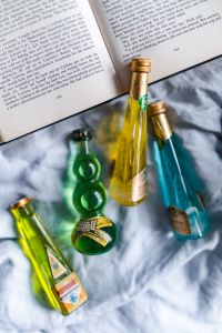 Kaboompics - Group of colorful little bottles with liqueurs