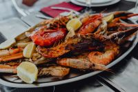 Kaboompics - Roasted Mixed Seafood Contain Crabs, Mussels, Big Shrimps, Calamari Squids