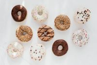 Kaboompics - Various donuts on white marble