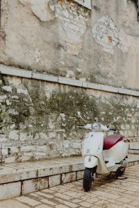 Kaboompics - Scooter parked by an old stone building, Rovinj, Croatia