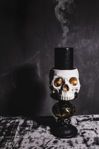 Kaboompics - Halloween Skull with Smoke Candle