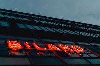 Neon sign Bilard on the building