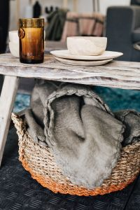 Kaboompics - Glass, wooden bowls, bench, basket, blanket