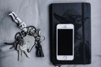 Kaboompics - iPhone, Moleskin notebook, keys