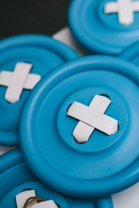 Kaboompics - Close-ups of big blue plastic buttons