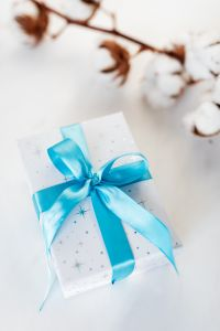 Kaboompics - Christmas gift, blue ribbon, cotton branch