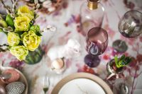 Kaboompics - Easter table with cute pink decorations, flowers, catkins and eggs