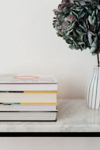 Books On Marble Table, White Background, Hydrangea