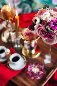 Kaboompics - Valentine's Day Breakfast in Bed: Coffee, flowers