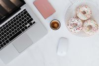 Kaboompics - Macbook Laptop, donuts & coffee