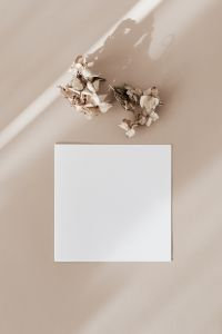 Kaboompics - Blank card on beige background