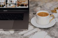 Kaboompics - Coffee in a cup on a marble desk