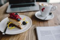 Kaboompics - Macbook, iPhone, Magazine, Cheese Cake and Cup of Coffee