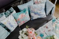 Kaboompics - Blue pillows on a comfy sofa