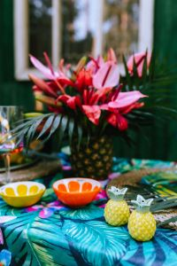 Kaboompics - Pineapple home accessories, tropical flowers