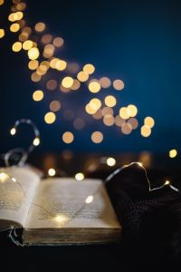 Kaboompics - Book, fairy lights
