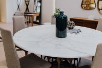 Furniture set with marble table and chairs