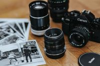 Kaboompics - Black Canon camera with lenses and black-and-white photos