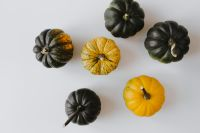 Kaboompics - Small yellow and dark green pumpkins on a white background