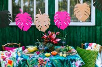 Paper Monstera Leaves, Party Table