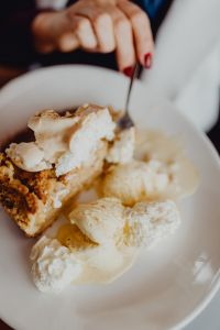 Kaboompics - Apple pie with whipped cream and ice cream in Cafe Verte
