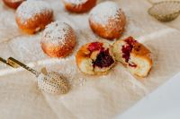 Kaboompics - Traditional Homemade Polish Paczki with cherry jem