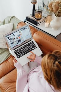 Kaboompics - Woman uses a laptop - working from home - Macbook Air