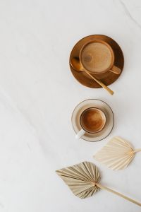 Kaboompics - Coffee & Dried Palm Leaves on Marble