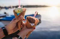 Kaboompics - Man and Woman Holding Ice Creams