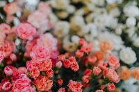 Various multicolored fresh flowers (carnations)