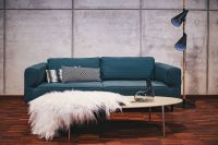 Kaboompics - Blue sofa with pillows in a designer living room interior