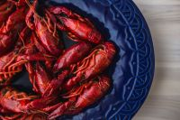 Crayfish on a blue plate