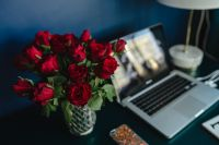 Kaboompics - Office Desk Table With Red Roses