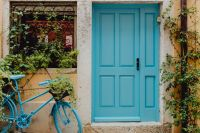 Kaboompics - Blue doors and blue bicycle, Rovinj, Croatia