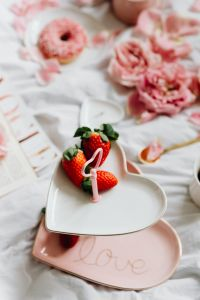 Strawberries on a plate - Valentine's